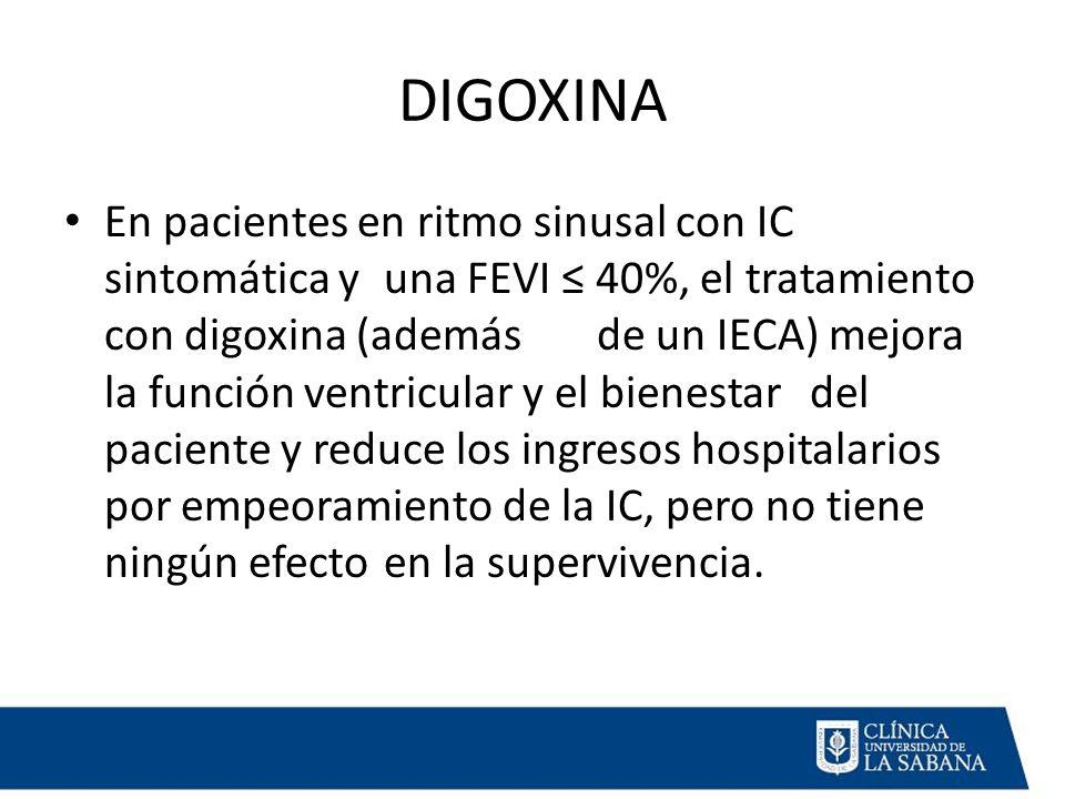 DIGOXINA En pacientes en ritmo sinusal con IC sintomática y una FEVI ≤ 40%, el tratamiento con digoxina (además de un IECA) mejora la función ventricular y el bienestar del paciente y reduce los ingresos hospitalarios por empeoramiento de la IC, pero no tiene ningún efecto en la supervivencia.