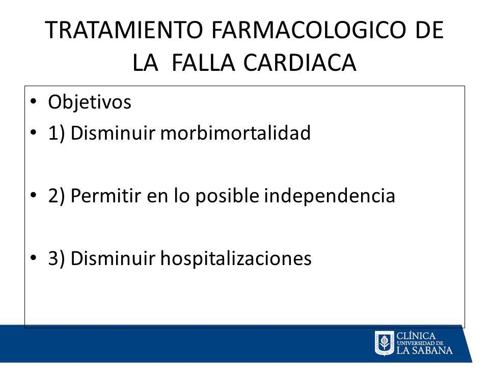 TRATAMIENTO FARMACOLOGICO DE LA FALLA CARDIACA Objetivos 1) Disminuir morbimortalidad 2) Permitir en lo posible independencia 3) Disminuir hospitalizaciones