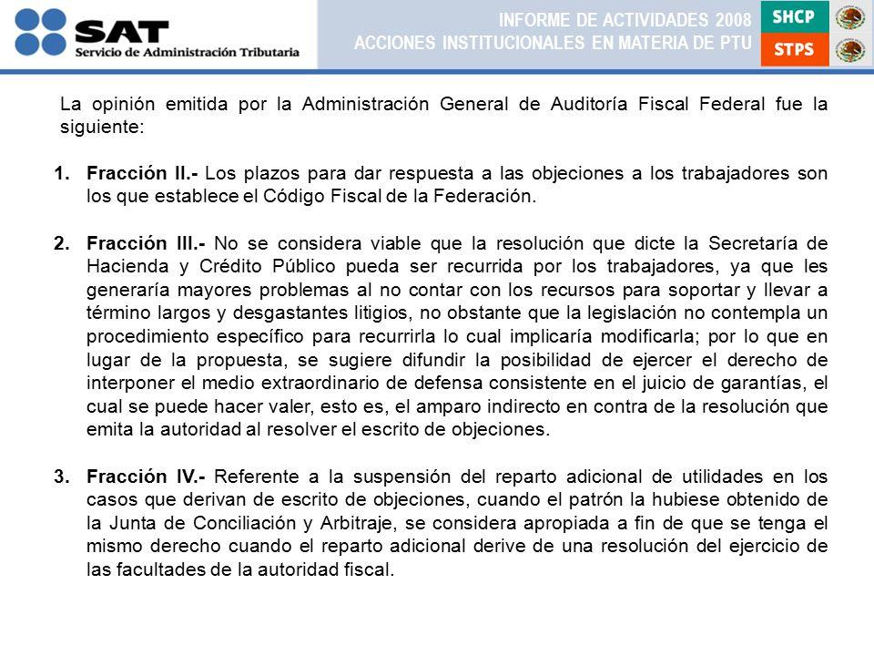 1.Fracción II.- Los plazos para dar respuesta a las objeciones a los trabajadores son los que establece el Código Fiscal de la Federación.