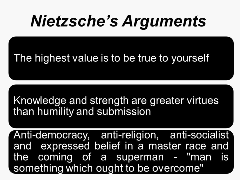 Nietzsche's Arguments The highest value is to be true to yourself Knowledge and strength are greater virtues than humility and submission Anti-democracy, anti-religion, anti-socialist and expressed belief in a master race and the coming of a superman - man is something which ought to be overcome