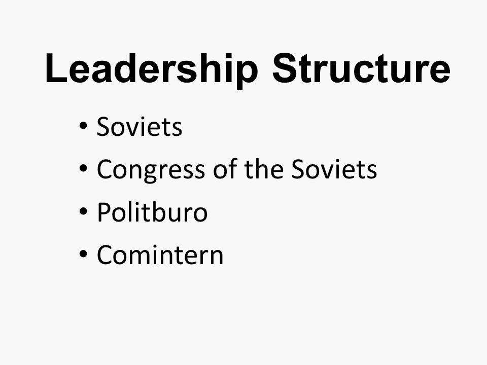Leadership Structure Soviets Congress of the Soviets Politburo Comintern