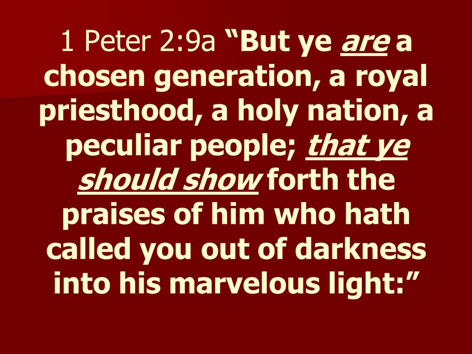 Review God called ALL of the people to be priests, not only a select few.