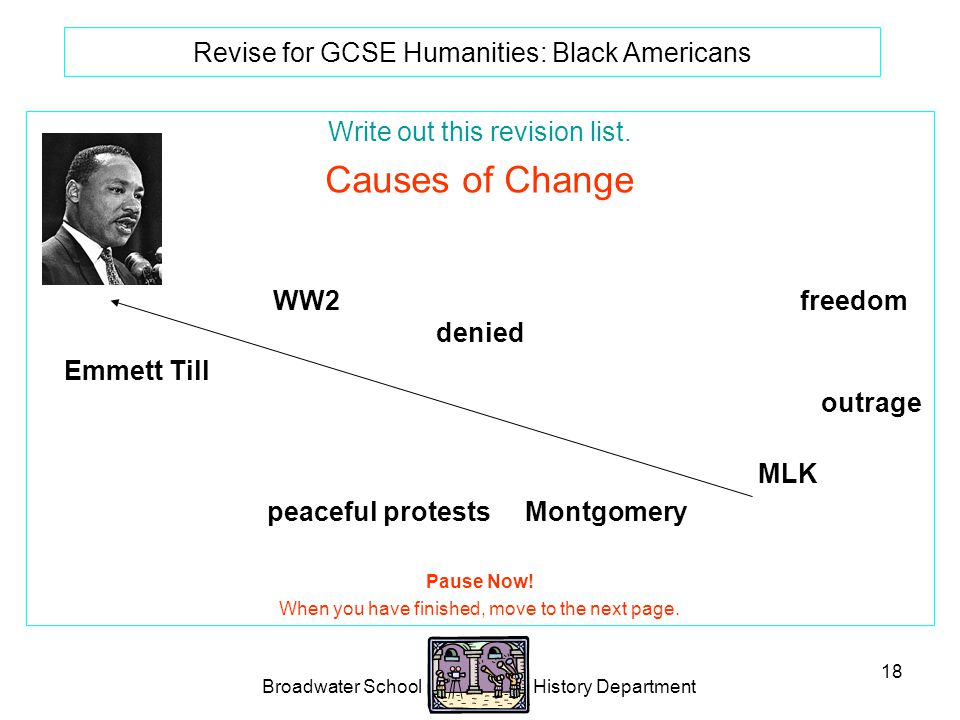 Broadwater School History Department 18 Revise for GCSE Humanities: Black Americans Write out this revision list.
