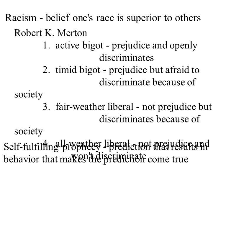 Racism - belief one's race is superior to others Robert K. Merton 1. active bigot - prejudice and openly discriminates 2. timid bigot - prejudice but