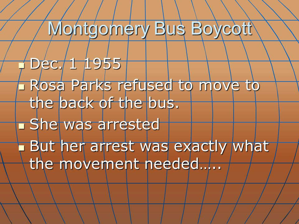 Montgomery Bus Boycott Dec. 1 1955 Dec. 1 1955 Rosa Parks refused to move to the back of the bus. Rosa Parks refused to move to the back of the bus. S
