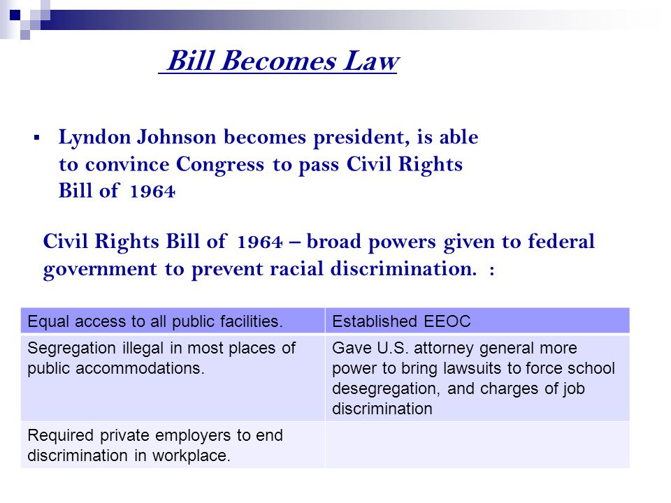 Bill Becomes Law  Lyndon Johnson becomes president, is able to convince Congress to pass Civil Rights Bill of 1964 Civil Rights Bill of 1964 – broad powers given to federal government to prevent racial discrimination.
