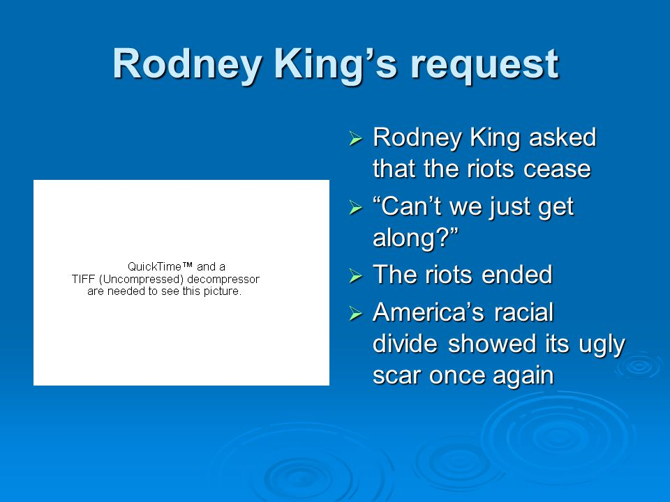 Rodney King's request  Rodney King asked that the riots cease  Can't we just get along  The riots ended  America's racial divide showed its ugly scar once again