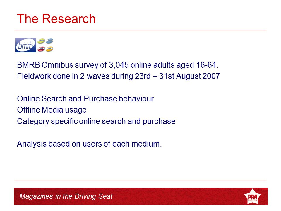 Magazines in the Driving Seat The Research BMRB Omnibus survey of 3,045 online adults aged 16-64. Fieldwork done in 2 waves during 23rd – 31st August