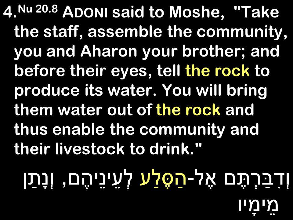 4. Nu 20.8 A DONI said to Moshe,