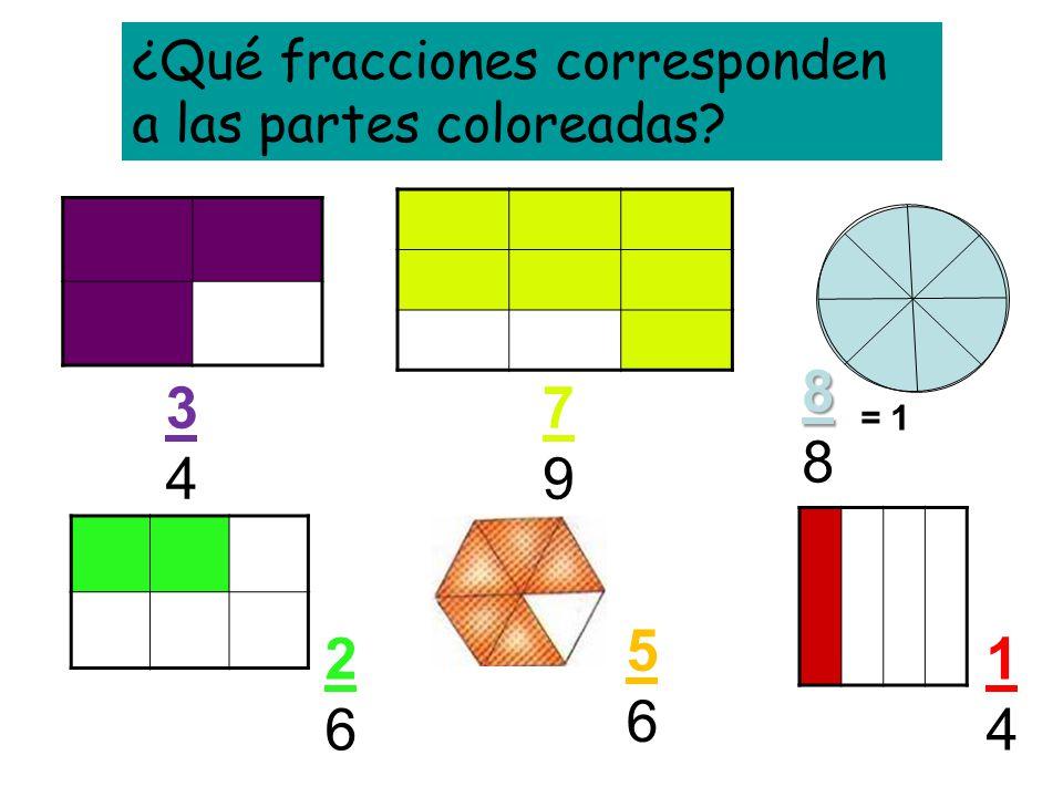 ¿Qué fracciones corresponden a las partes coloreadas? 3434 7979 888888 2626 5656 1414 = 1