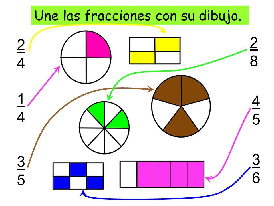 2424 Une las fracciones con su dibujo. 1414 3535 2828 4545 3636