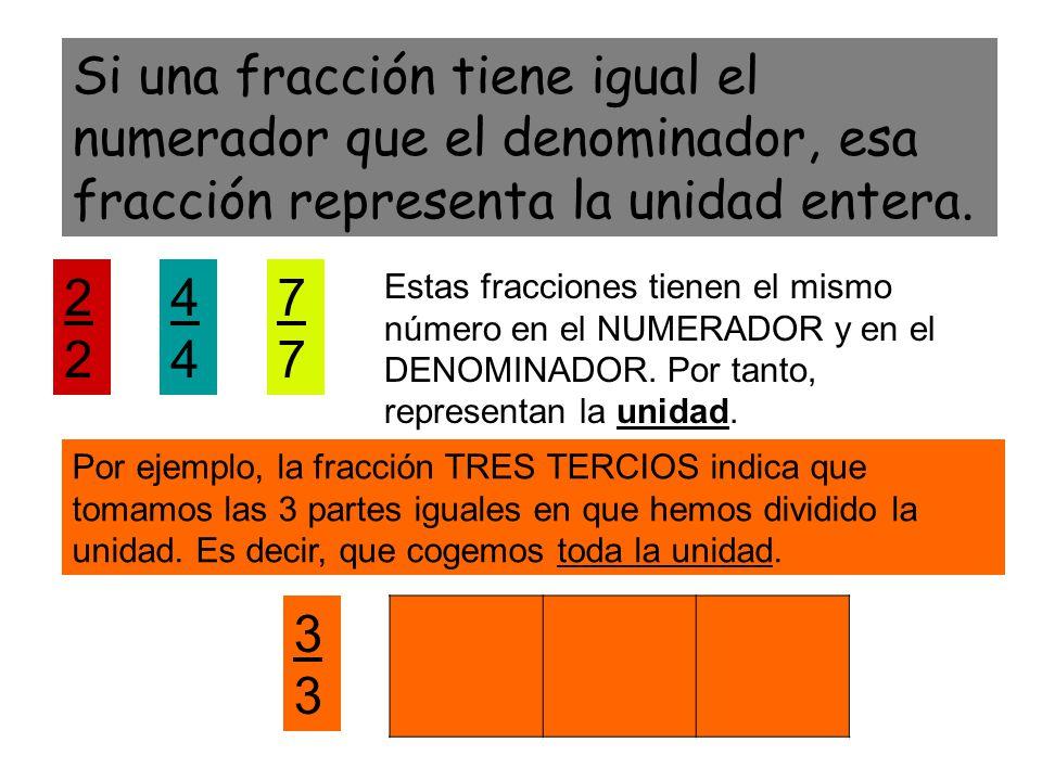 Si una fracción tiene igual el numerador que el denominador, esa fracción representa la unidad entera. 24 Estas fracciones tienen el mismo número en e