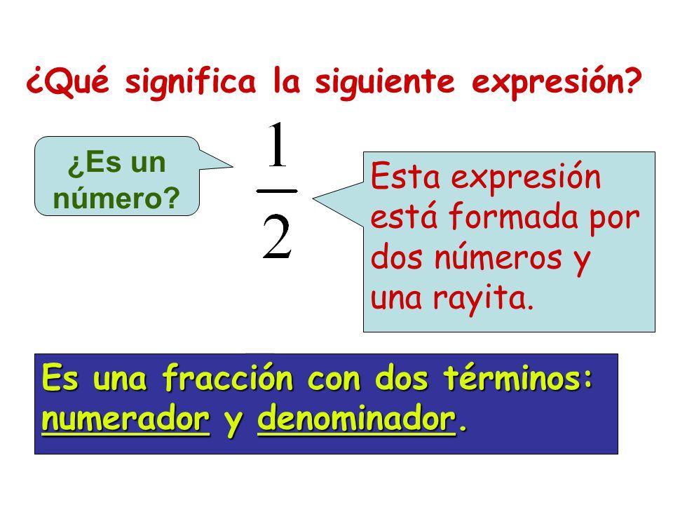 ¿Qué significa la siguiente expresión? ¿Es un número? Esta expresión está formada por dos números y una rayita. Es una fracción con dos términos: nume
