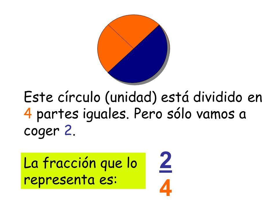 Este círculo (unidad) está dividido en 4 partes iguales. Pero sólo vamos a coger 2.2. La fracción que lo representa es: 2424