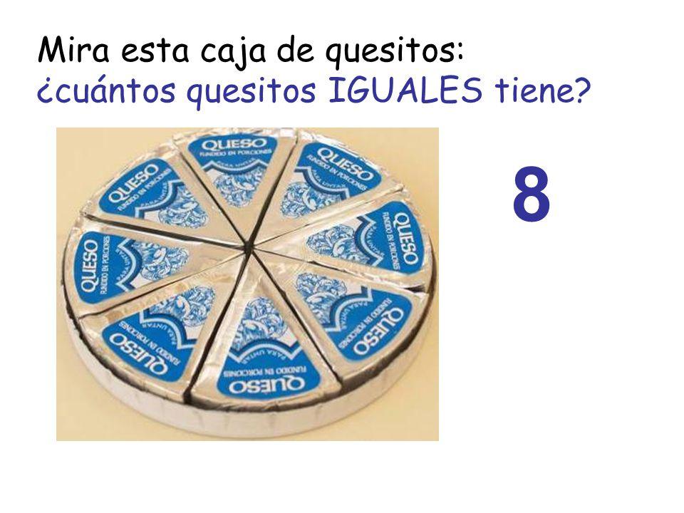 Mira esta caja de quesitos: ¿cuántos quesitos IGUALES tiene? 8