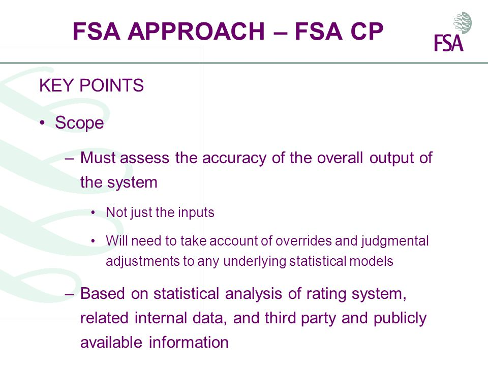 FSA APPROACH – FSA CP KEY POINTS Scope –Must assess the accuracy of the overall output of the system Not just the inputs Will need to take account of overrides and judgmental adjustments to any underlying statistical models –Based on statistical analysis of rating system, related internal data, and third party and publicly available information