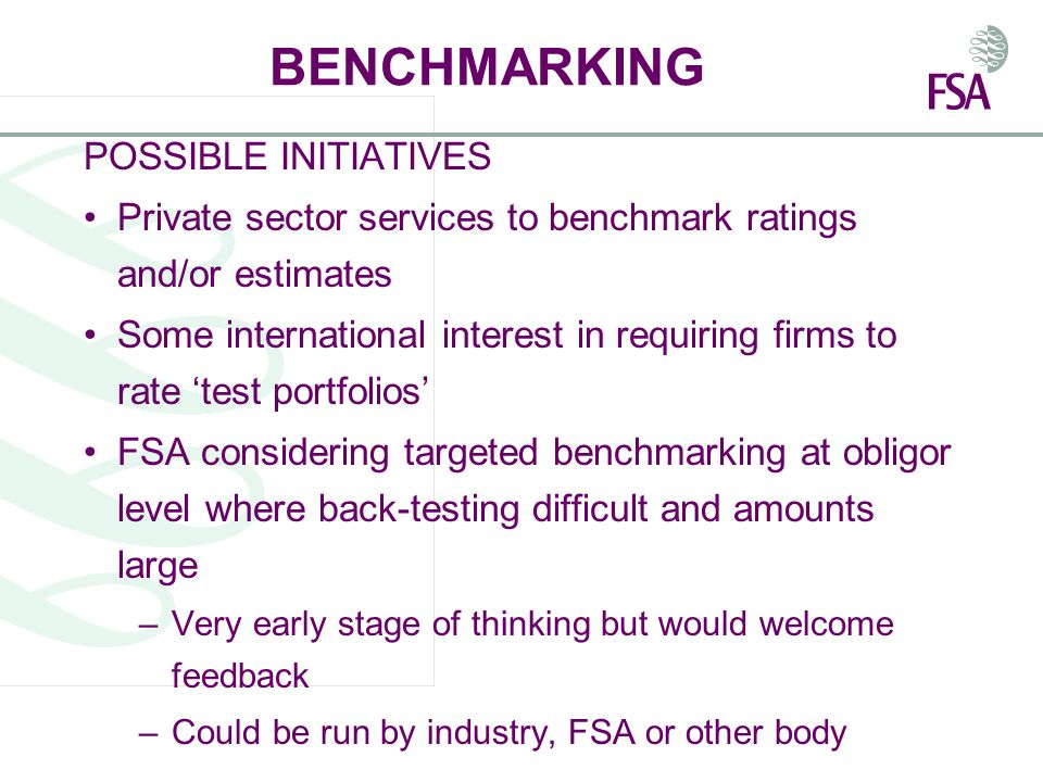 BENCHMARKING POSSIBLE INITIATIVES Private sector services to benchmark ratings and/or estimates Some international interest in requiring firms to rate 'test portfolios' FSA considering targeted benchmarking at obligor level where back-testing difficult and amounts large –Very early stage of thinking but would welcome feedback –Could be run by industry, FSA or other body