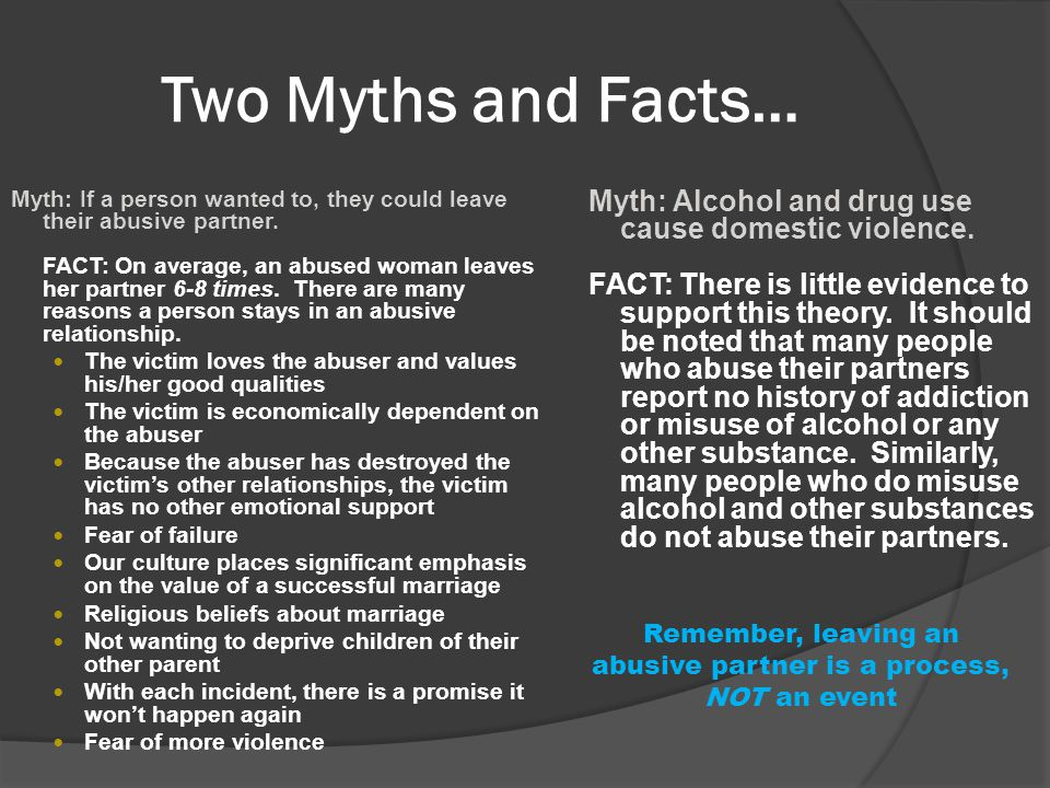 Two Myths and Facts… Myth: Alcohol and drug use cause domestic violence.
