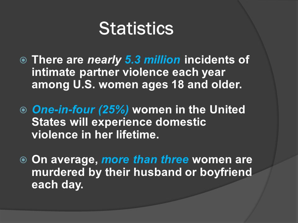 Statistics  There are nearly 5.3 million incidents of intimate partner violence each year among U.S.