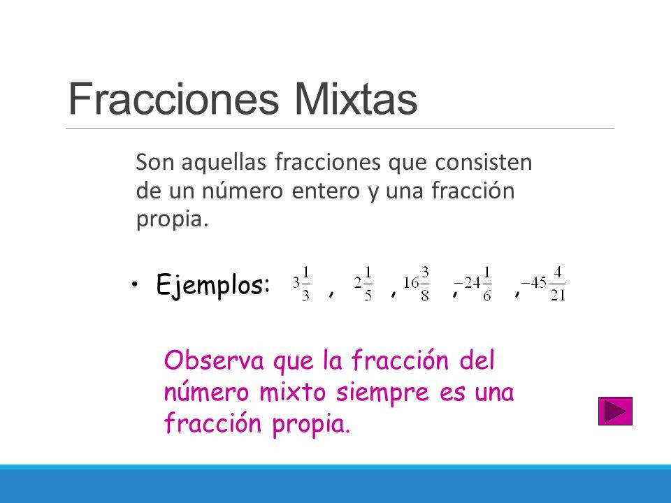 Fracciones Mixtas Son aquellas fracciones que consisten de un número entero y una fracción propia. Observa que la fracción del número mixto siempre es