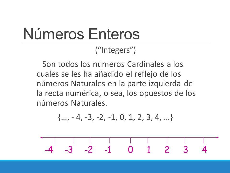"""Números Enteros (""""Integers"""") Son todos los números Cardinales a los cuales se les ha añadido el reflejo de los números Naturales en la parte izquierda"""