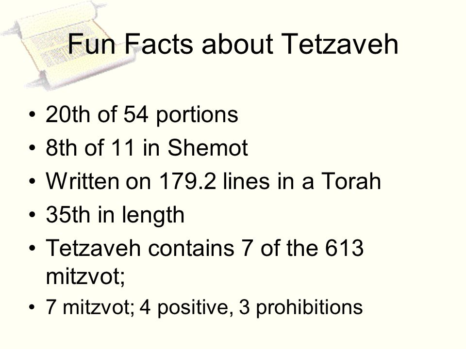 . Fun Facts about Tetzaveh 20th of 54 portions 8th of 11 in Shemot Written on 179.2 lines in a Torah 35th in length Tetzaveh contains 7 of the 613 mitzvot; 7 mitzvot; 4 positive, 3 prohibitions