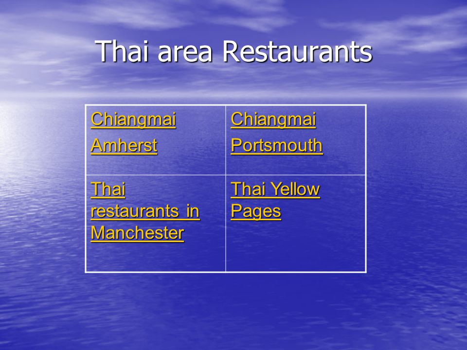 Thai area Restaurants Chiangmai Amherst Chiangmai Portsmouth Thai restaurants in Manchester Thai restaurants in Manchester Thai Yellow Pages Thai Yellow Pages