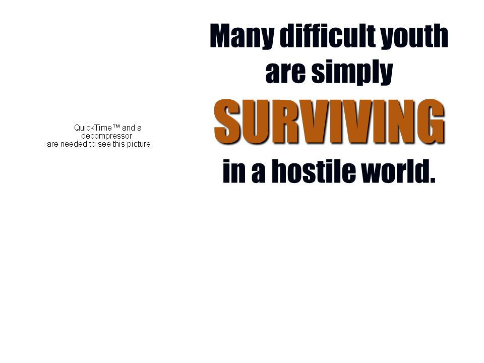 01/24/2011 16 SURVIVING Many difficult youth are simply SURVIVING in a hostile world.
