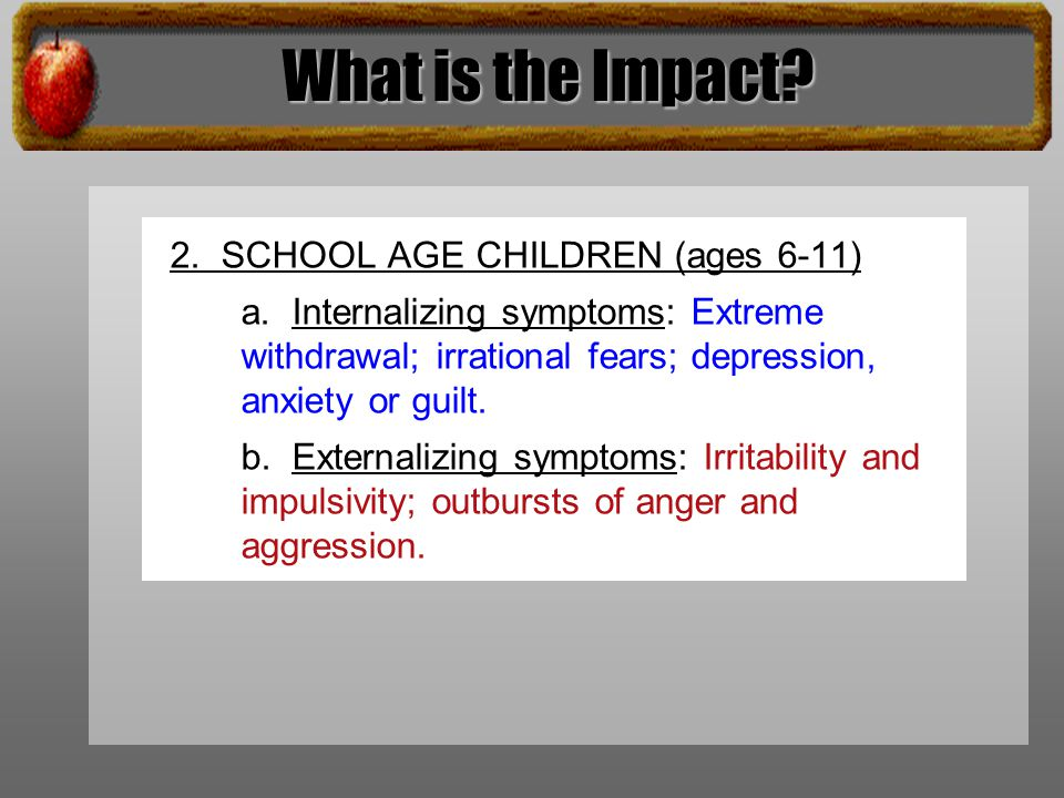 What is the Impact. 2. SCHOOL AGE CHILDREN (ages 6-11) a.