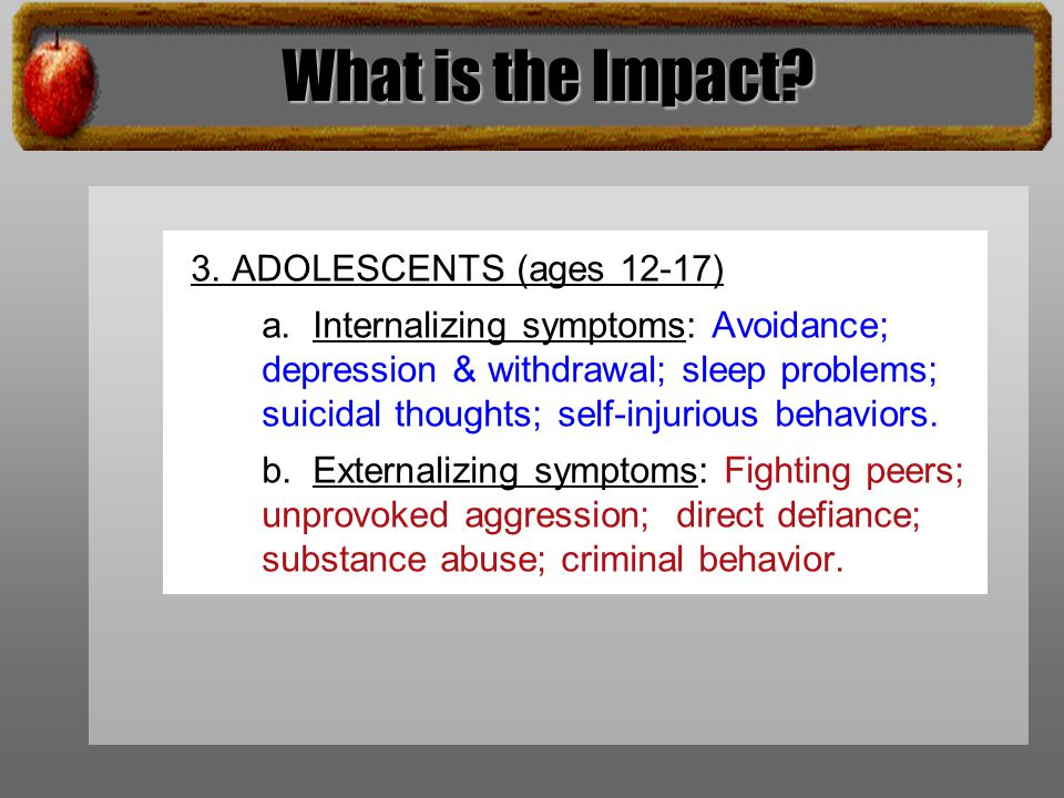 What is the Impact. 3. ADOLESCENTS (ages 12-17) a.