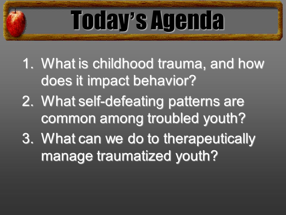 1. What is childhood trauma, and how does it impact behavior.