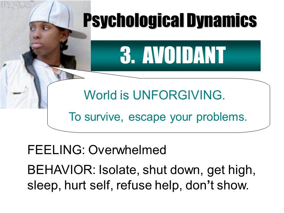 3. AVOIDANT FEELING: Overwhelmed World is UNFORGIVING.