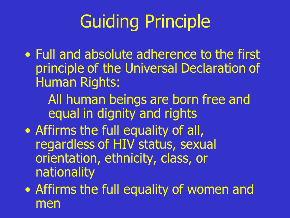 Guiding Principle Full and absolute adherence to the first principle of the Universal Declaration of Human Rights: All human beings are born free and equal in dignity and rights Affirms the full equality of all, regardless of HIV status, sexual orientation, ethnicity, class, or nationality Affirms the full equality of women and men