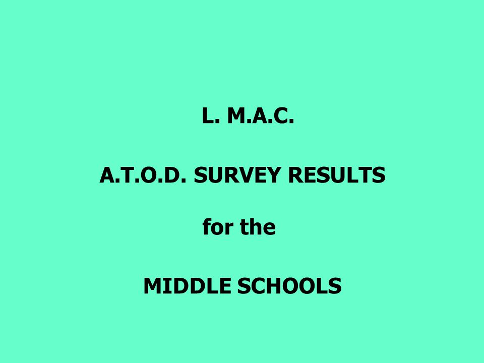 L. M.A.C. A.T.O.D. SURVEY RESULTS for the MIDDLE SCHOOLS