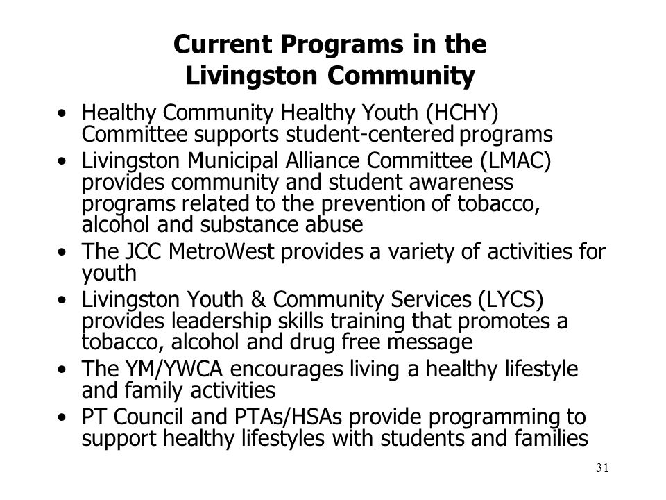 31 Current Programs in the Livingston Community Healthy Community Healthy Youth (HCHY) Committee supports student-centered programs Livingston Municip