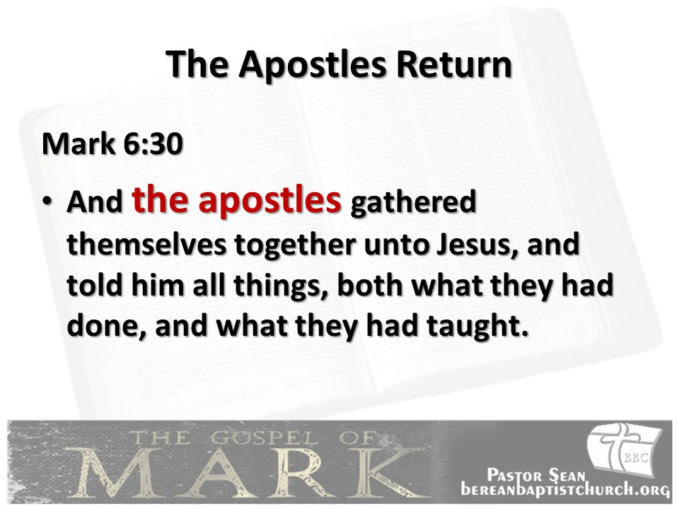 The Apostles Return Mark 6:30 And the apostles gathered themselves together unto Jesus, and told him all things, both what they had done, and what they had taught.