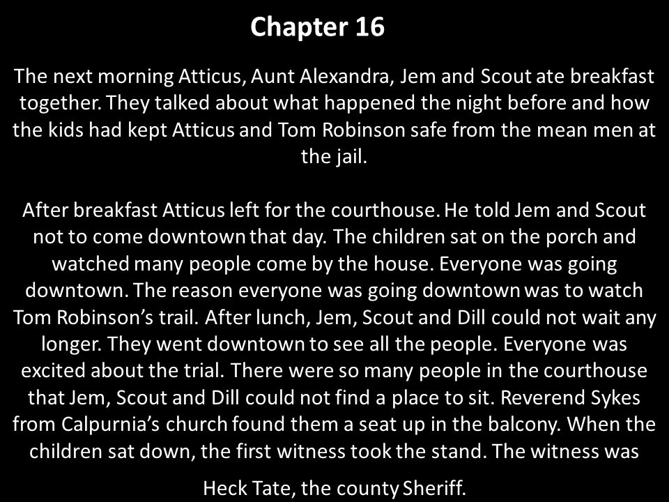 Chapter 17 The trial to put Tom Robinson in jail had begun.