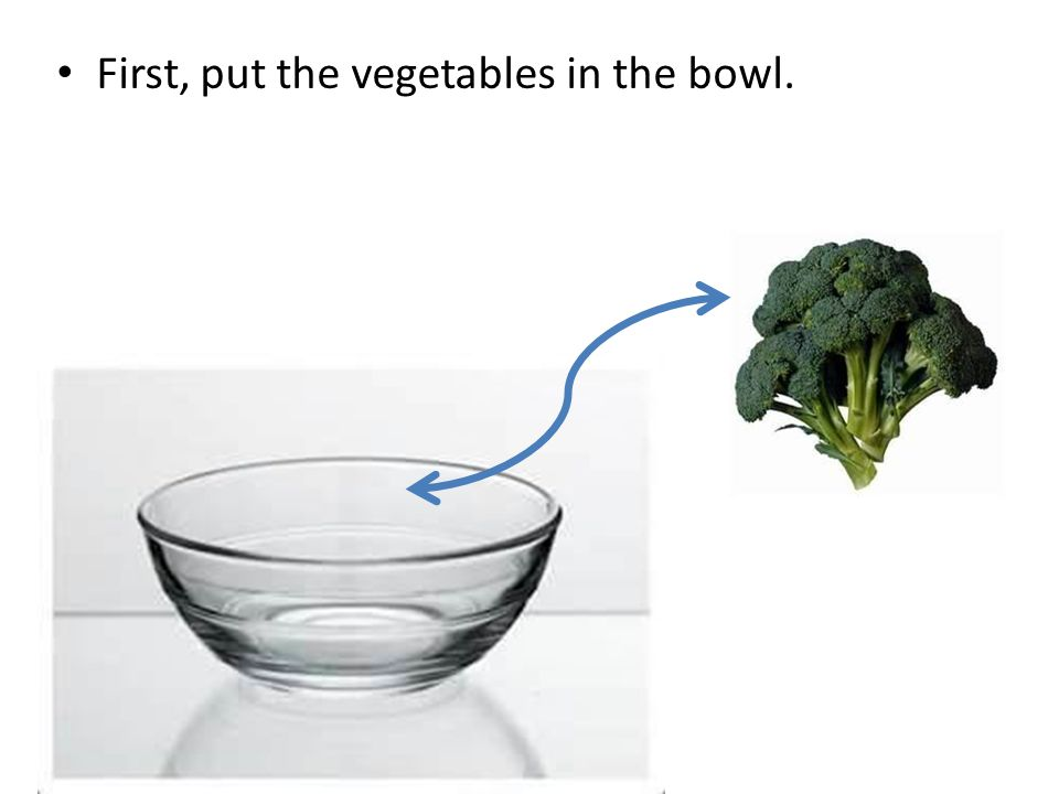 First, put the vegetables in the bowl.