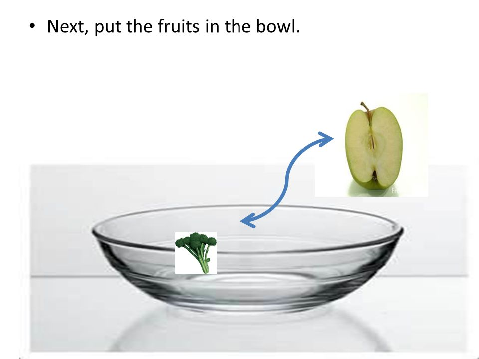 Next, put the fruits in the bowl.
