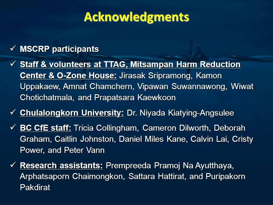 Acknowledgments MSCRP participants MSCRP participants Staff & volunteers at TTAG, Mitsampan Harm Reduction Center & O-Zone House: Jirasak Sripramong, Kamon Uppakaew, Amnat Chamchern, Vipawan Suwannawong, Wiwat Chotichatmala, and Prapatsara Kaewkoon Staff & volunteers at TTAG, Mitsampan Harm Reduction Center & O-Zone House: Jirasak Sripramong, Kamon Uppakaew, Amnat Chamchern, Vipawan Suwannawong, Wiwat Chotichatmala, and Prapatsara Kaewkoon Chulalongkorn University: Dr.