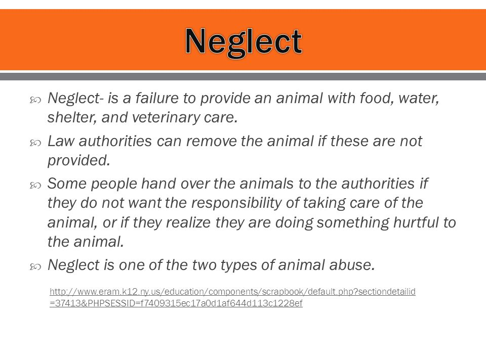  Neglect- is a failure to provide an animal with food, water, shelter, and veterinary care.