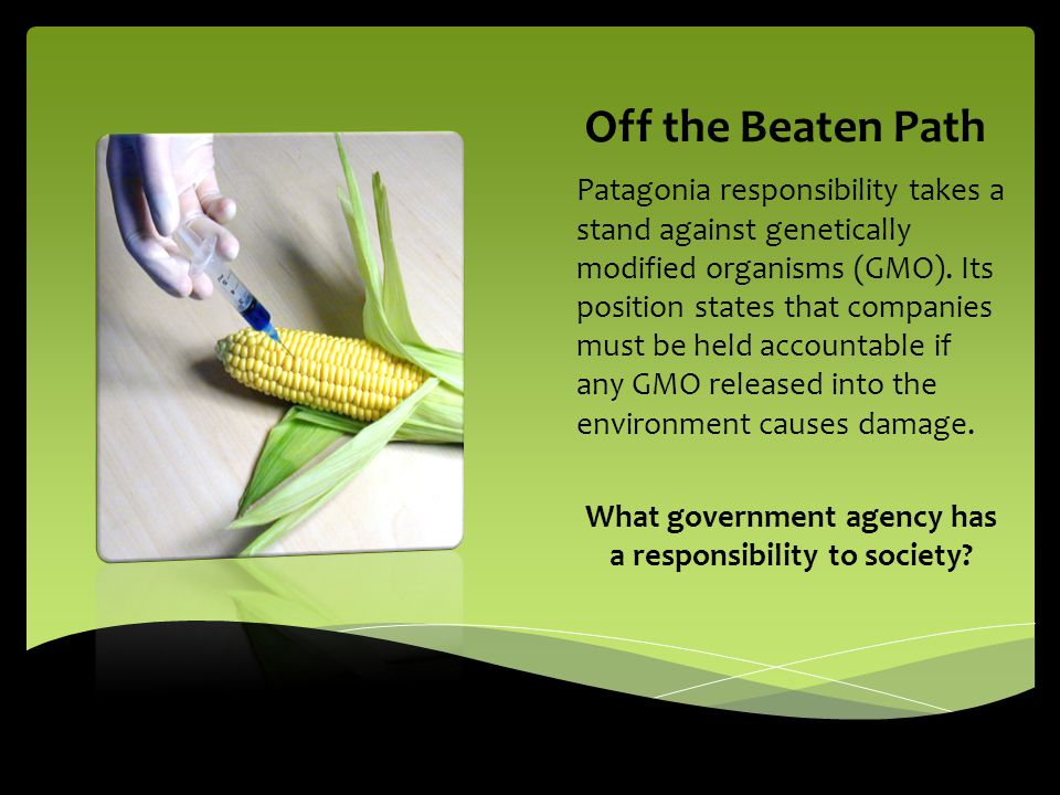 Off the Beaten Path Patagonia responsibility takes a stand against genetically modified organisms (GMO). Its position states that companies must be he