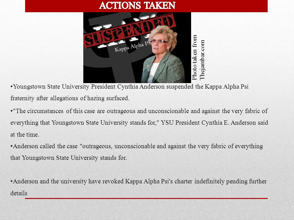 Photo taken from Thejambar.com Youngstown State University President Cynthia Anderson suspended the Kappa Alpha Psi fraternity after allegations of ha
