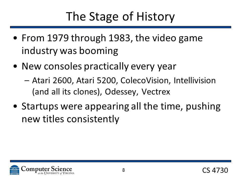 CS 4730 The World of Balance In 1982, Atari was clearing $2B and was recognized as the fastest growing US company EVER Microcomputers were starting to appear with reasonable prices –Like the C64 and the TRS80 9