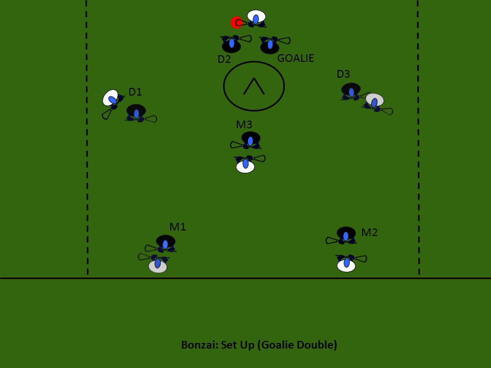 Bonzai: Set Up (Goalie Double) M3 M2 M1 D1 D2 D3 GOALIE