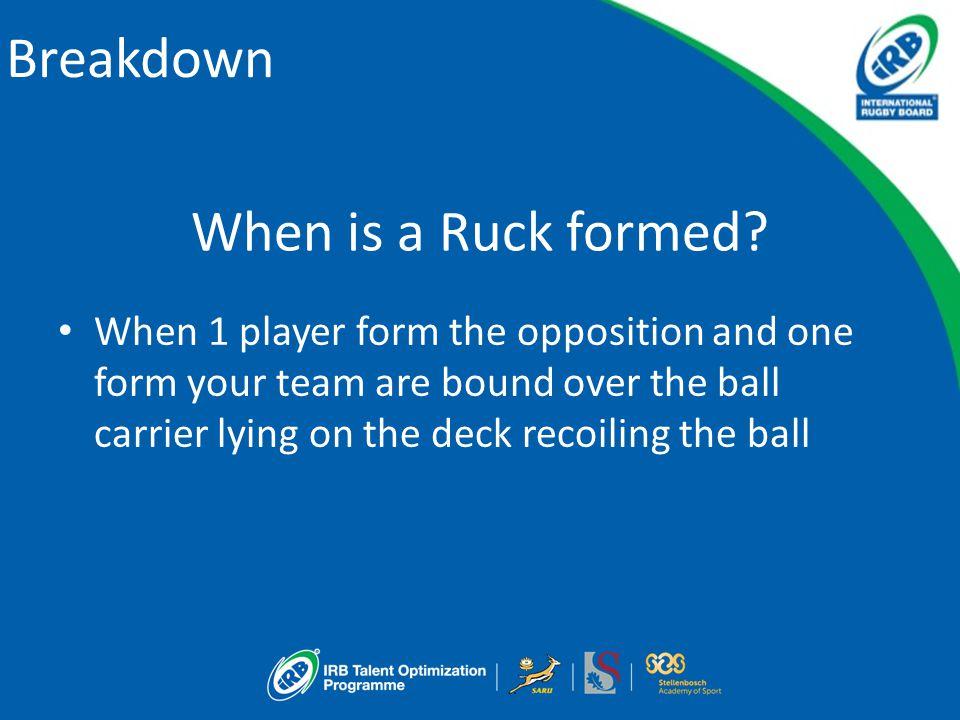 Breakdown When is a Ruck formed.