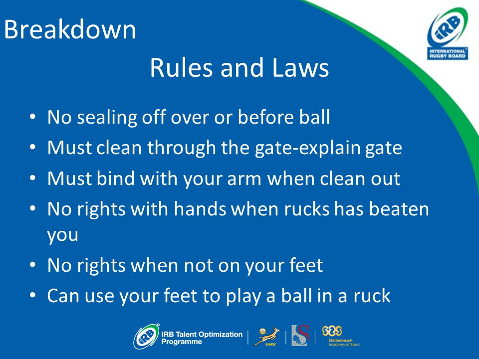 Breakdown Rules and Laws No sealing off over or before ball Must clean through the gate-explain gate Must bind with your arm when clean out No rights