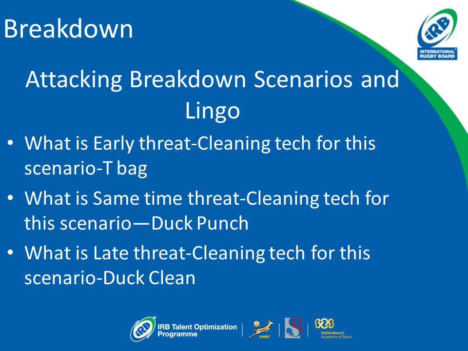 Breakdown Attacking Breakdown Scenarios and Lingo What is Early threat-Cleaning tech for this scenario-T bag What is Same time threat-Cleaning tech fo