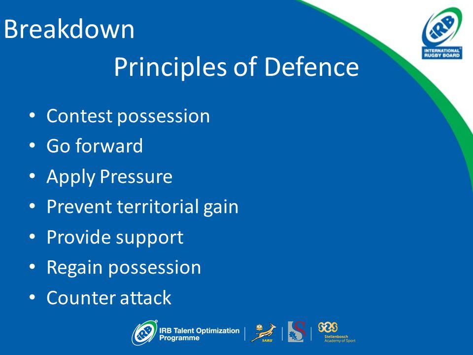 Breakdown Principles of Defence Contest possession Go forward Apply Pressure Prevent territorial gain Provide support Regain possession Counter attack