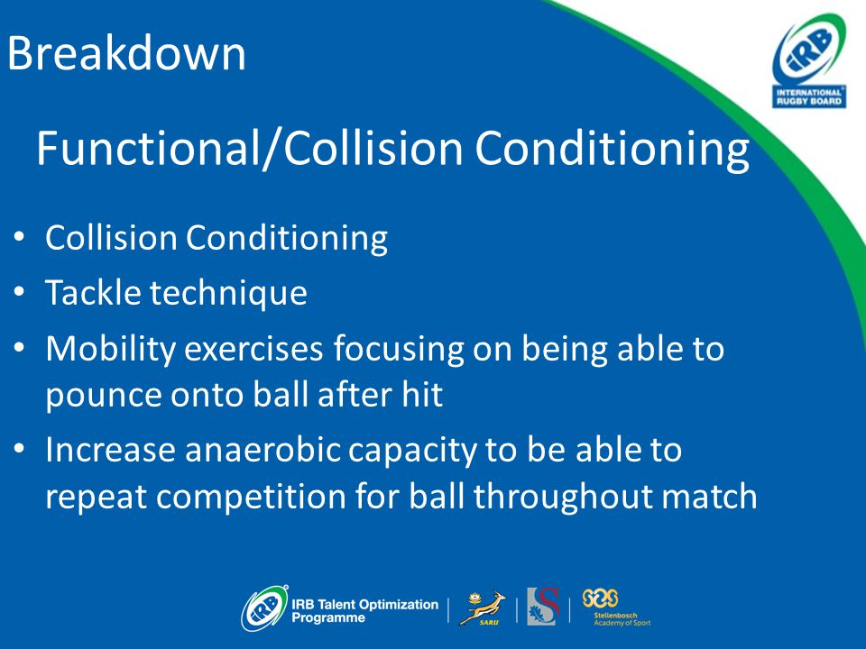 Breakdown Functional/Collision Conditioning Collision Conditioning Tackle technique Mobility exercises focusing on being able to pounce onto ball after hit Increase anaerobic capacity to be able to repeat competition for ball throughout match